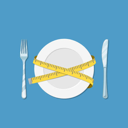Plate with measuring tape, fork and knife. diet concept. vector illustration in flat style