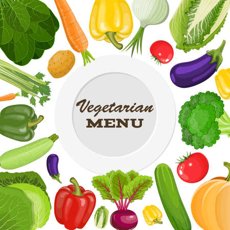 Vegetarian menu cover. Dieting and nutrition. Vector illustration in flat style