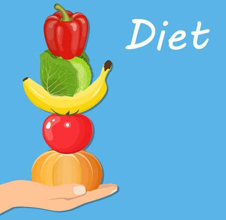 levantar peso: frutas y verduras de mano. Concepto de dieta saludable. Ilustración vectorial en estilo plano Vectores