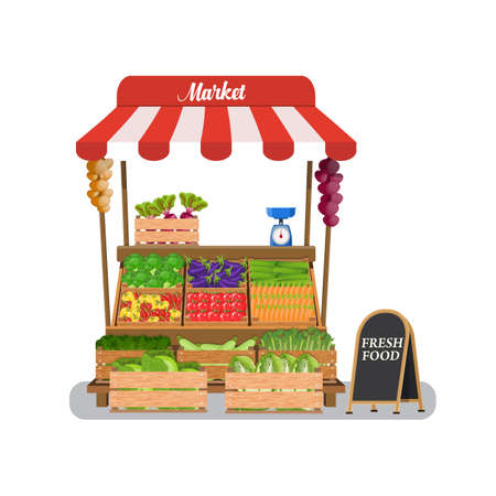 chinese food container: Local vegetable stall. Local market farmer selling vegetables produce on his stall with awning. promote healthy eating concept. Food market. illustration in flat style