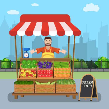male street vendor selling vegetables from his stall on city street Illustration