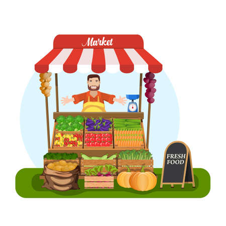 Market stall with salesman trading vegetables. Grocery retail theme. promote healthy eating concept. Food market. illustration in flat style