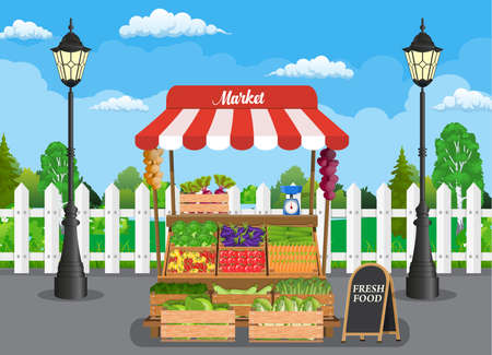 Traditional wooden market food stall full of vegetables products , crates and chalk board. Vector illustration in flat style