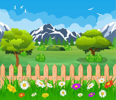 summer garden landscape. Mountain Landscape with forest and fence. Vector illustration in flat style