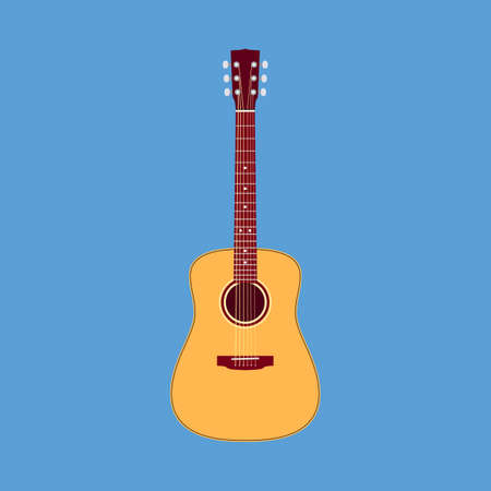 Classical acoustic guitar. Musical string instrument collection. Vector illustration in flat design