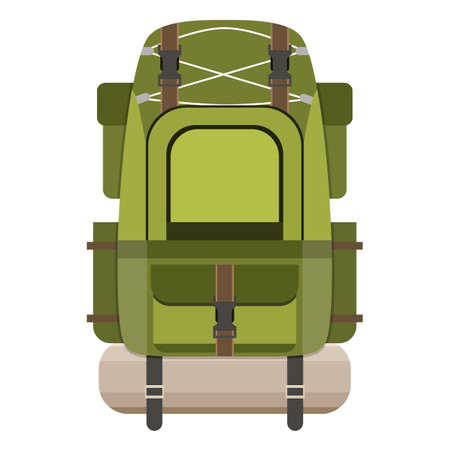 Large Hiking Backpack Tourist Rucksack With Sleeping Bag Camping Isolated On White Background