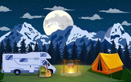 Vector flat illustration camping. Vettoriali