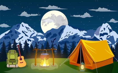 Vector flat illustration camping. Illustration