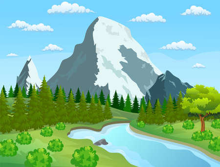 River flowing through the rocky hills. Summer landscape with mountains. River and the forest, nature landscape. vector illustration Illustration