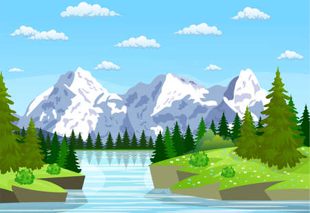 River flowing through the rocky hills Illustration