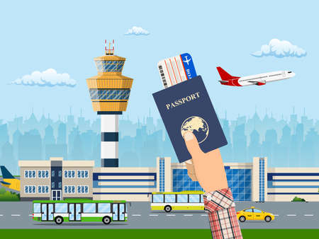 International airport concept. Hand with ticket and passport. Airport terminal with road, taxi cab, bus and aircraft. Cityscape. Vector illustration in flat style
