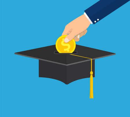 Hand put gold coin in graduation cap.