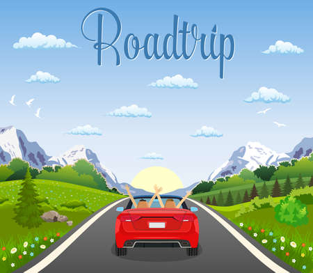 rural road: highway drive with beautiful landscape. Stock Photo