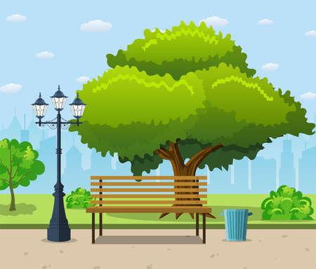 City park bench under a big green tree Illustration