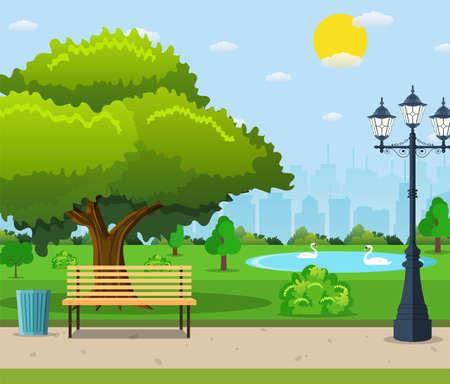 Banco del parco cittadino sotto un grande albero verde Vettoriali