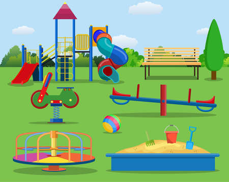 Kids playground cartoon concept background. childrens playground in a city park.