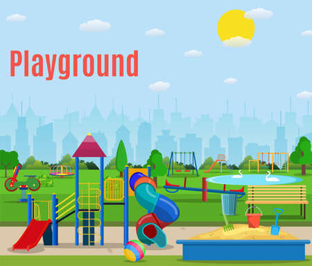 Kids playground cartoon concept background. children playground in a city park. Illustration