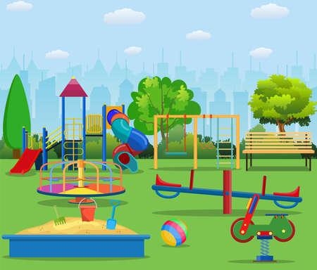 Kids playground cartoon concept background. childrens playground in a city park.