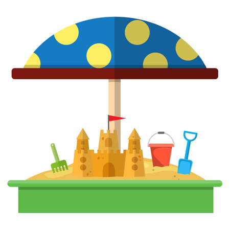 Sandbox with red dotted umbrella icon Illustration