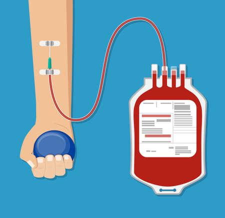 Sac de sang et main du donneur avec ballon.