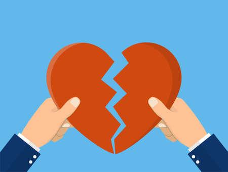 Hands tearing apart heart symbol Illustration