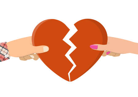 Man and female holding two halves of broken heart