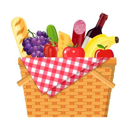 WIcker Picknickkorb Vektorgrafik