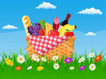 WIcker picnic basket full of products. Wine, sausage, bacon and cheese, apple, tomato, cucumber. Grass, flowers, sky with clouds. Vector illustration in flat style