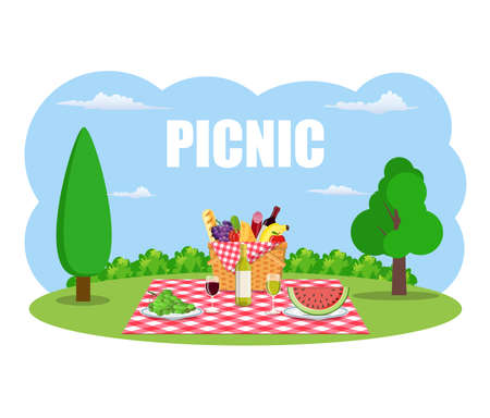 Outdoor picnic in park Table covered with tartan cloth. Picnic basket filled with food on the chair. Vector illustration in flat style Illustration