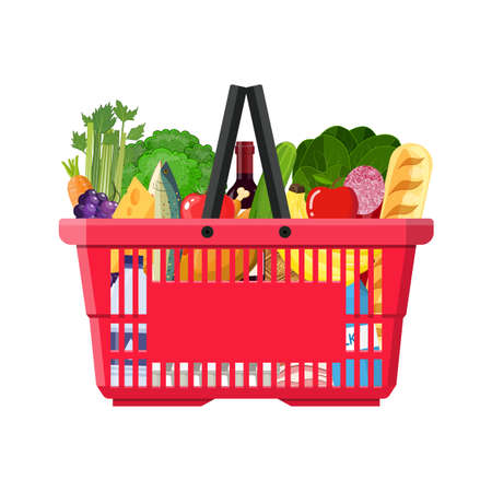 basketful: Paper shopping bag full of groceries products.