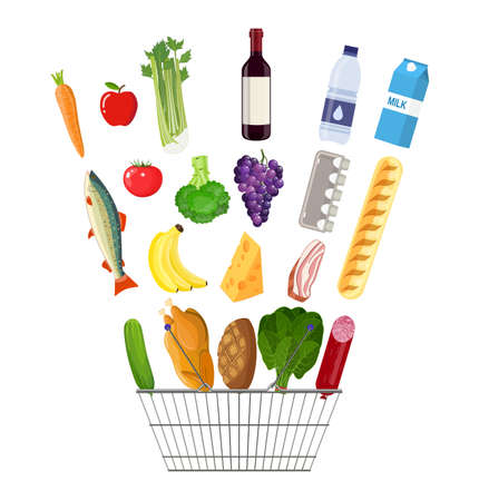 basketful: shopping basket full of groceries products.