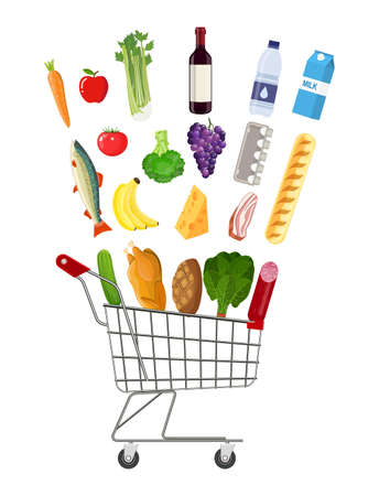 basketful: Metal shopping cart full of groceries products.