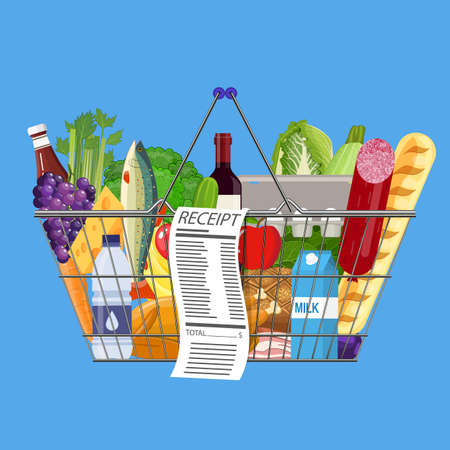 basketful: Plastic shopping basket full of groceries products Illustration