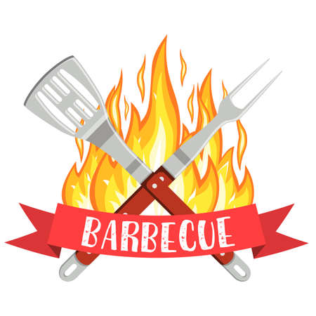 dinner party: Barbecue party logo. Bbq and Grill icon with fire, fork and spatula. Vector illustration in flat style