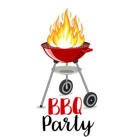 dinner party: BBQ party banner grill with fire vector illustration.