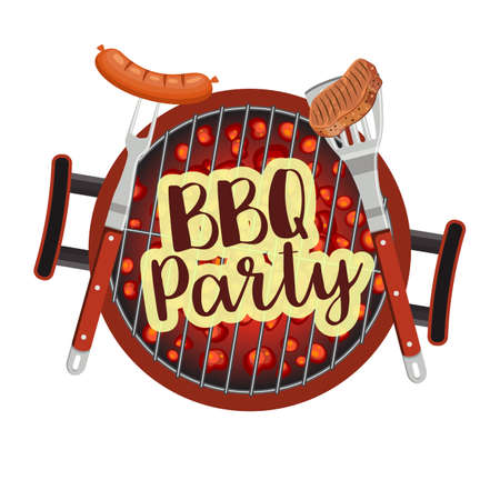 dinner party: Bbq Barbecue Party Poster vector illustration.