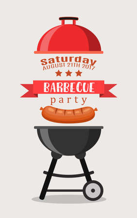 dinner party: Bbq or barbecue party invitation Illustration