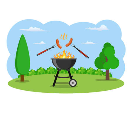 barbecue grill and kitchen utensils