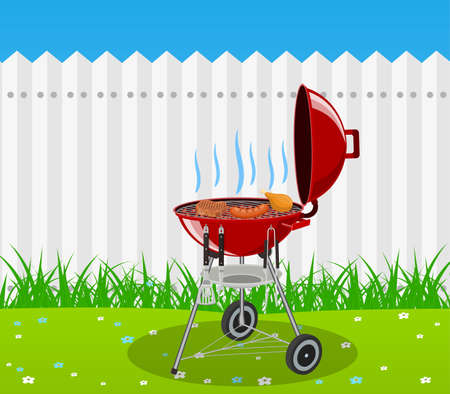 fried: Barbecue grill and kitchen utensils vector illustration.