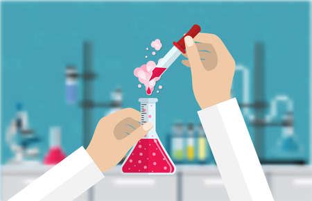 test tube holder: Science Experiment in laboratory. Lboratory equipment, jars, beakers, flasks, microscope, spirit lamp. Biology science education medical vector illustration in flat style