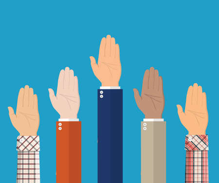 Raised up hands. People vote hands. Volunteering and election concept. Vector illustration in flat style Illustration