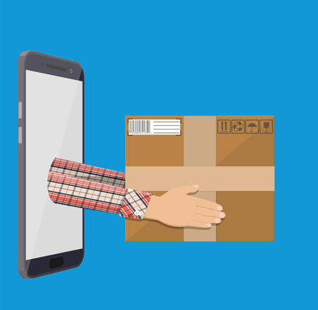 Hands with postal cardboard box and smartphone.