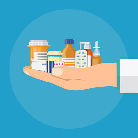 Different medical pills and bottles in hand of doctor, healthcare and shopping, pharmacy, drug store. Vector illustration in flat style Ilustração