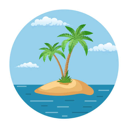 Summer landscape of the tropical island in the ocean with palm trees Vector illustration in flat style Illustration
