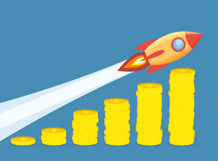 Rocket flying up on coins growth chart. Graph that shows increase in sales. Business success. Vector illustration in flat style