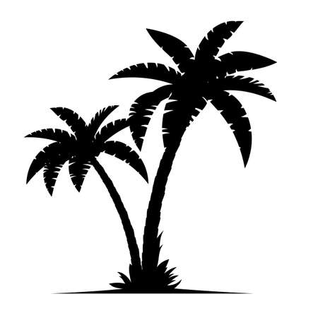 Tropical palm trees silhouettes isolated on white background. Coconut trees. Vector illustration in flat style Vettoriali