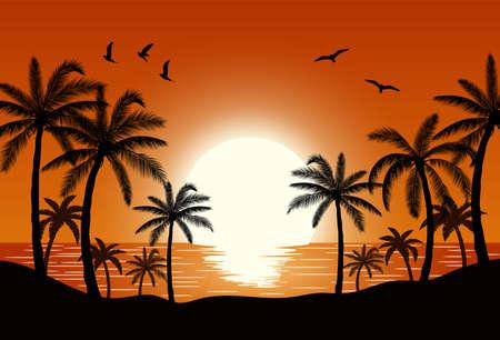 Silhouette palm tree on beach Фото со стока - 82028688