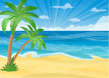 cloudless: Summer beach with a sun, palm trees and cloudless sky. Template for your poster