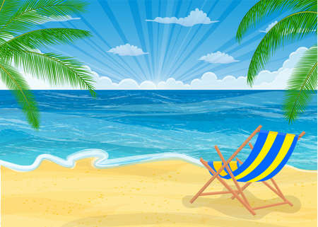 subtropical: Summer beach with sun, chair, palm trees and sky. Template for your poster Illustration