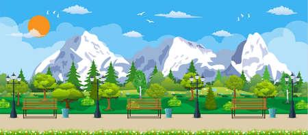 Mountain park concept, wooden bench, Illustration